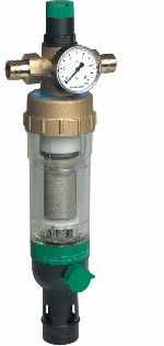 Filter combination with reverse rinsable fine filter, clear filter bowl and balanced-seat pressure reducing valve, FK09S